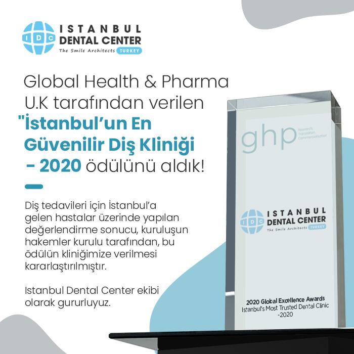Global Health & Pharma U.K. tarafından verilen 'İstanbul'un En Güvenilir Diş Kliniği - 2020' ödülünü aldık!