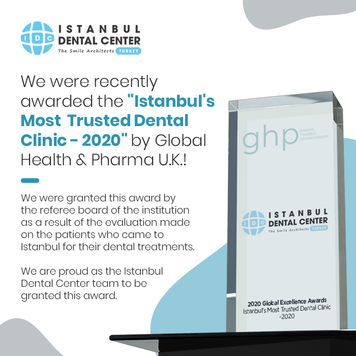 We were recently awarded the 'Istanbul's Most Trusted Dental Clinic - 2020' by Global Health & Pharma U.K.!